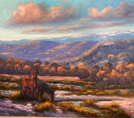 (CreativeWork) Brumbies on the Snowy Mountains by Christopher Vidal. Oil. Shop online at Bluethumb.