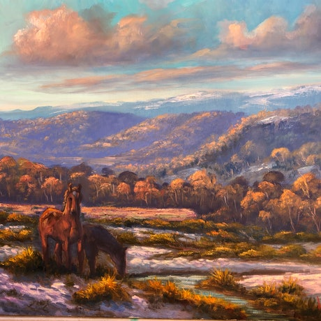 (CreativeWork) Brumbies on the Snowy Mountains by Christopher Vidal. Oil Paint. Shop online at Bluethumb.
