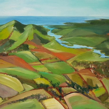 (CreativeWork) AFTER THE RAINS Shoalhaven by Suzy Strout. Acrylic Paint. Shop online at Bluethumb.
