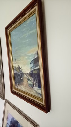 (CreativeWork) Old Gulgong Town by Christopher McCarthy. Oil Paint. Shop online at Bluethumb.