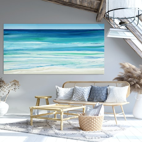 (CreativeWork) Devocean - very large blue green abstract seascape by Stephanie Laine Pickering. Acrylic Paint. Shop online at Bluethumb.