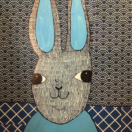 (CreativeWork) Blue Rabbit 1 by Sally Dunbar. Mixed Media. Shop online at Bluethumb.