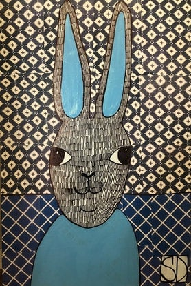(CreativeWork) Blue Rabbit 2 by Sally Dunbar. Mixed Media. Shop online at Bluethumb.