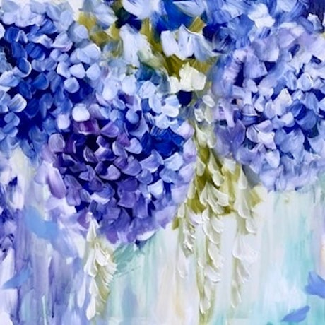 (CreativeWork) Petite cascading hydrangea  by Amanda Brooks. Acrylic Paint. Shop online at Bluethumb.