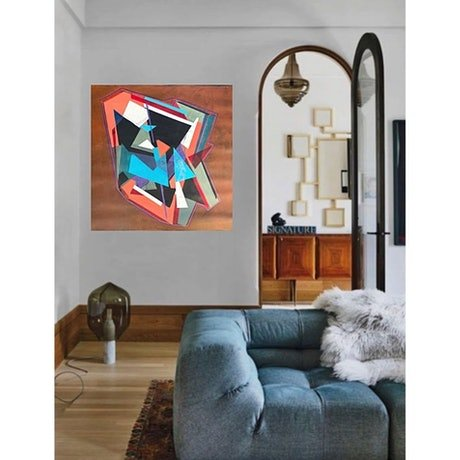 (CreativeWork) Geometry Aqua by Tracey Berthold. Mixed Media. Shop online at Bluethumb.
