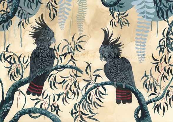 (CreativeWork) Red Tailed Black Cockatoo Forest Ed. 2 of 50 by Sally Browne. Print. Shop online at Bluethumb.