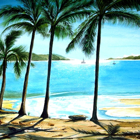 (CreativeWork) Long Island, Whitsundays (Framed) by Linda Callaghan. Acrylic Paint. Shop online at Bluethumb.