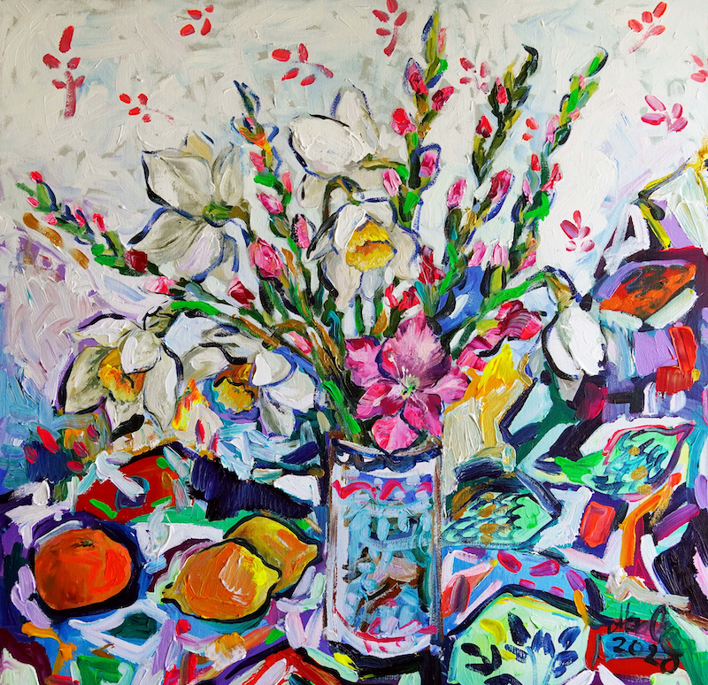(CreativeWork) Still Life with Daffodils and Gladiolas by Katerina Apale. Acrylic Paint. Shop online at Bluethumb.