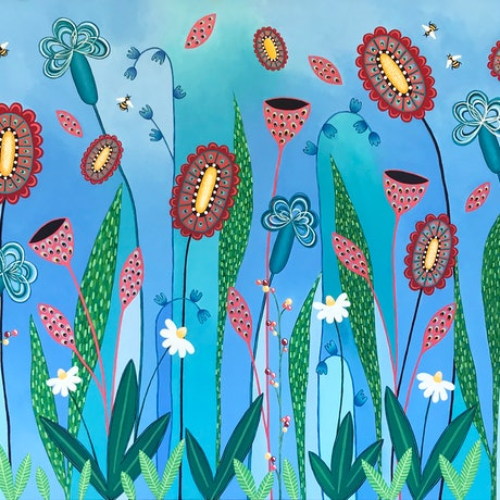 (CreativeWork) Blooming Abundance by Lisa Frances Judd. Acrylic Paint. Shop online at Bluethumb.