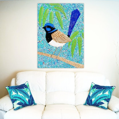 (CreativeWork) Blue Wren - Textured Abstract - special save $140 by Miranda Lloyd. Mixed Media. Shop online at Bluethumb.