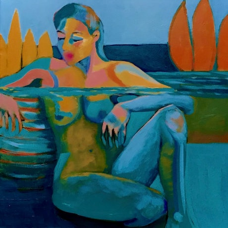 (CreativeWork) Infinity Pool - seated nude by Lee Wilde. Acrylic Paint. Shop online at Bluethumb.