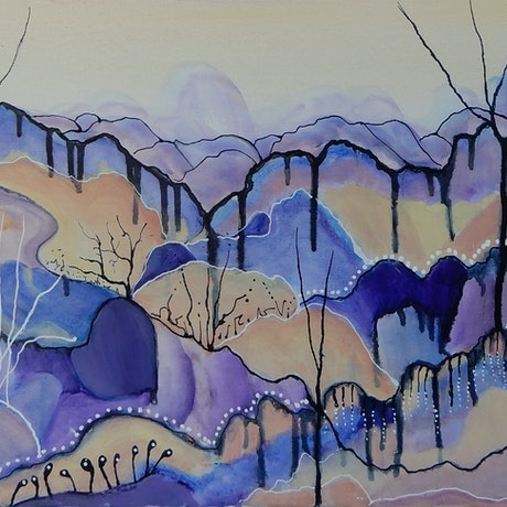 (CreativeWork) Desert Lavender by Doodie Herman. Acrylic Paint. Shop online at Bluethumb.