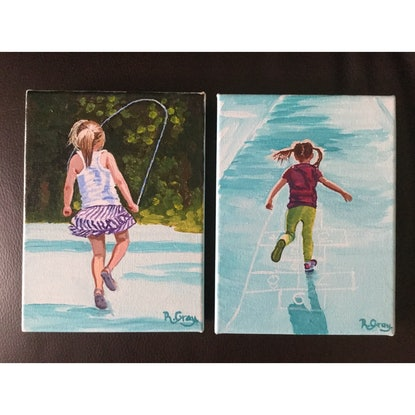 (CreativeWork) Skipping & Hopscotch Two Mini ORIGINAL Paintings by Robyn Gray. Acrylic Paint. Shop online at Bluethumb.