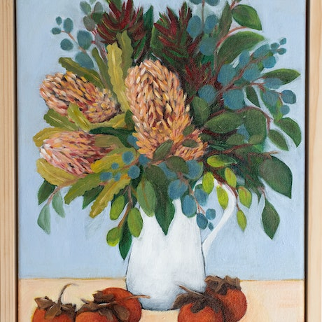 (CreativeWork) Persimmon & Natives by Selenia Costanzo. Acrylic Paint. Shop online at Bluethumb.