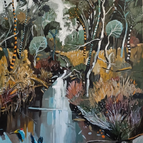 (CreativeWork) Australian landscape  - Bushland Creek by Susan Trudinger. Acrylic Paint. Shop online at Bluethumb.