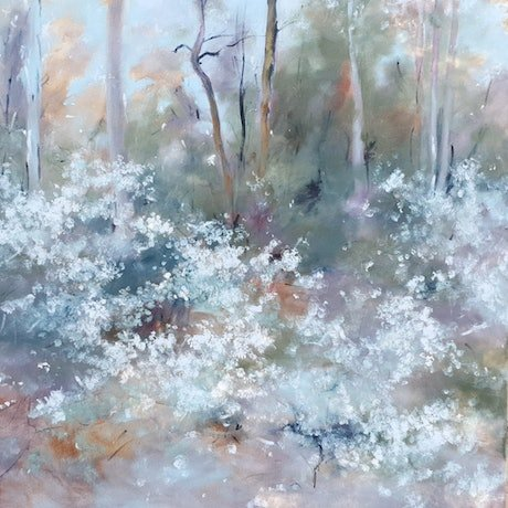 (CreativeWork) Spring touches the bush 1 by Victoria Collins. Oil Paint. Shop online at Bluethumb.