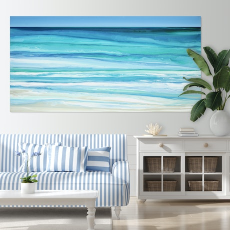 (CreativeWork) Emocean - very large blue green abstract seascape by Stephanie Laine Pickering. Acrylic Paint. Shop online at Bluethumb.