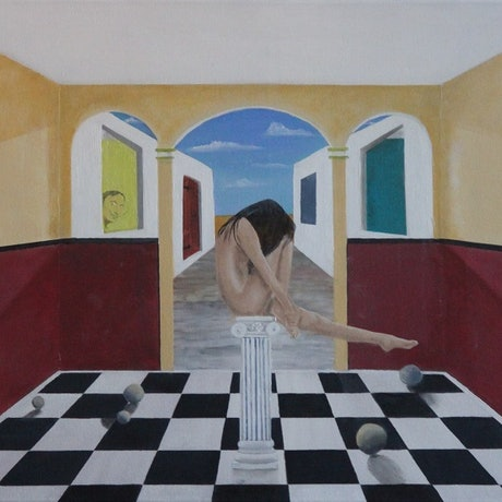 """(CreativeWork) """"Girl On A Pedestal."""" by Dennis Heape. Oil Paint. Shop online at Bluethumb."""