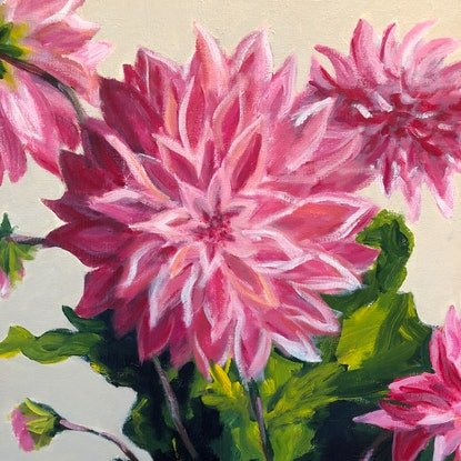 (CreativeWork) Dahlias in Glass Vase by John Klein. Acrylic Paint. Shop online at Bluethumb.