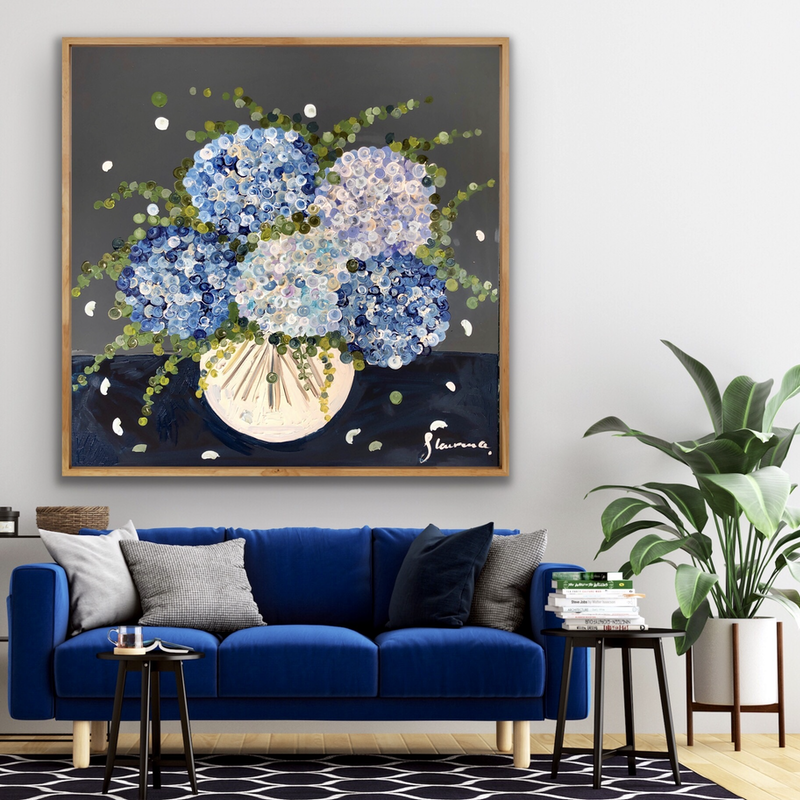 (CreativeWork) The blue hydrangea posie 102x102 framed large textured abstract flowers  by Sophie Lawrence. Acrylic Paint. Shop online at Bluethumb.