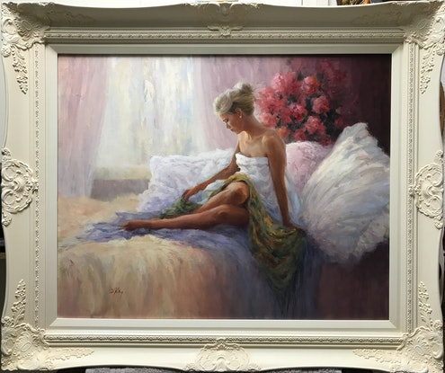 (CreativeWork) A Delicate Moment by Di King. Oil Paint. Shop online at Bluethumb.