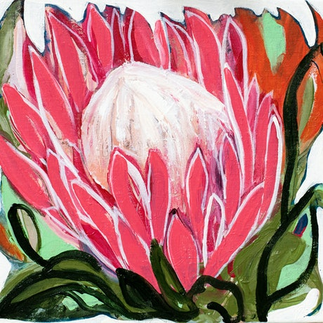 (CreativeWork) Protea Breeze by Jacqui Doran. Acrylic Paint. Shop online at Bluethumb.