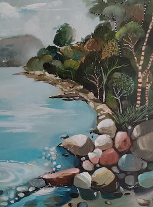(CreativeWork) Australian landscape  - Seaside Rocks by Susan Trudinger. Acrylic Paint. Shop online at Bluethumb.