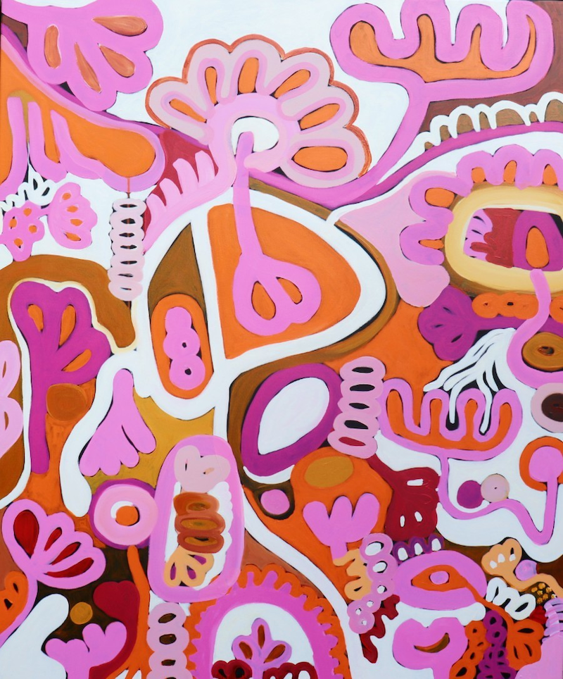 (CreativeWork) Flower Power by Sarah Morrow. Acrylic Paint. Shop online at Bluethumb.