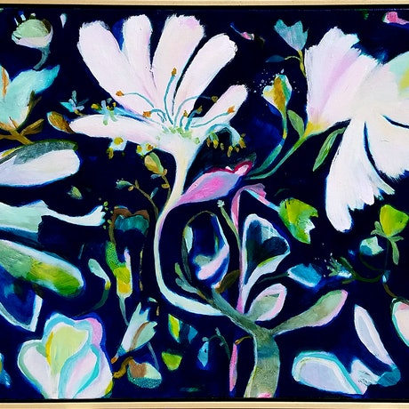 (CreativeWork) Indigo Garden by Ian Gunn. Acrylic Paint. Shop online at Bluethumb.