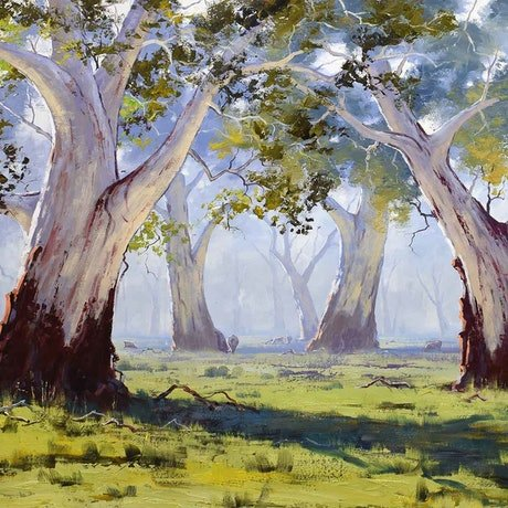 (CreativeWork) Majestic Gums Whittlesea by Graham Gercken. Oil Paint. Shop online at Bluethumb.