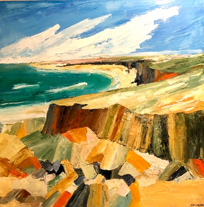 (CreativeWork) Cliffs in Daylight, Coastal 0003 by Lisa Ingerson. Oil Paint. Shop online at Bluethumb.