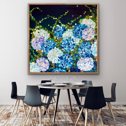 (CreativeWork) Midnight blue hydrangea 122x122 framed textured large abstract flowers by Sophie Lawrence. Acrylic Paint. Shop online at Bluethumb.