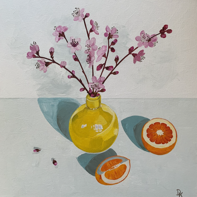 (CreativeWork) Nectarine Blossoms With Blood Orange by Dominika Keller. Acrylic Paint. Shop online at Bluethumb.