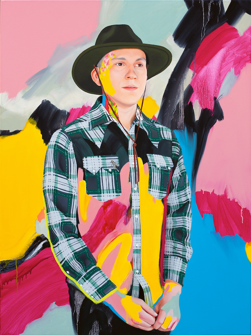 (CreativeWork) Brian with pink, blue and yellow by Kim Leutwyler. Oil Paint. Shop online at Bluethumb.