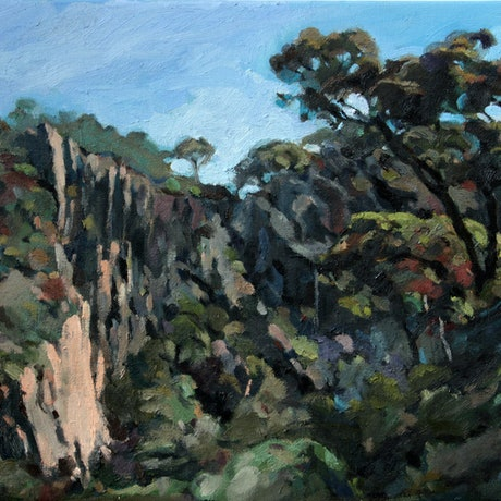 (CreativeWork) Werribee Gorge No10 by Peter Roccella. Oil Paint. Shop online at Bluethumb.