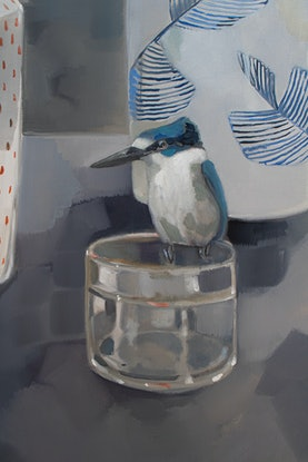 (CreativeWork) Kingfisher and Gold Bowl by Sam Suttie. Oil Paint. Shop online at Bluethumb.