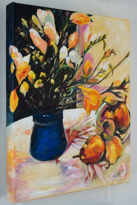 (CreativeWork) Sunlit Freesia and Strewn Pears by Eileen Scrymgeour Rigby. Acrylic Paint. Shop online at Bluethumb.