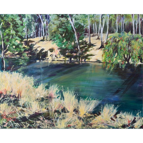 (CreativeWork) Queensland Creek on a Sunny Day by Eileen Scrymgeour Rigby. Acrylic Paint. Shop online at Bluethumb.