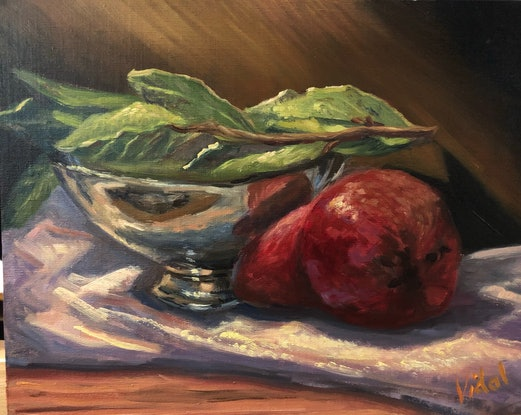 (CreativeWork) Fruit and bay leaves still life - Oil on linen board by Christopher Vidal. Oil Paint. Shop online at Bluethumb.