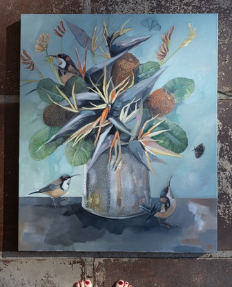 (CreativeWork) Birds Of Paradise by Sam Suttie. Oil Paint. Shop online at Bluethumb.