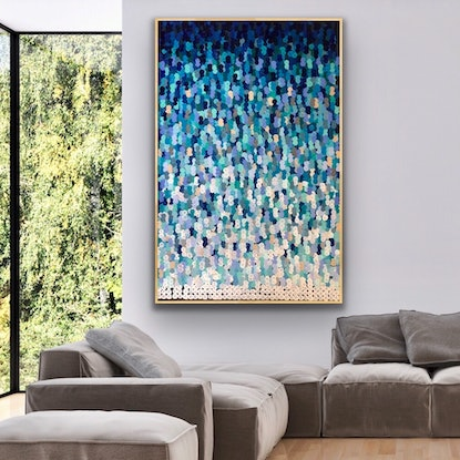 (CreativeWork) Coogee 122x183 framed large abstract beachscape by Sophie Lawrence. Acrylic Paint. Shop online at Bluethumb.