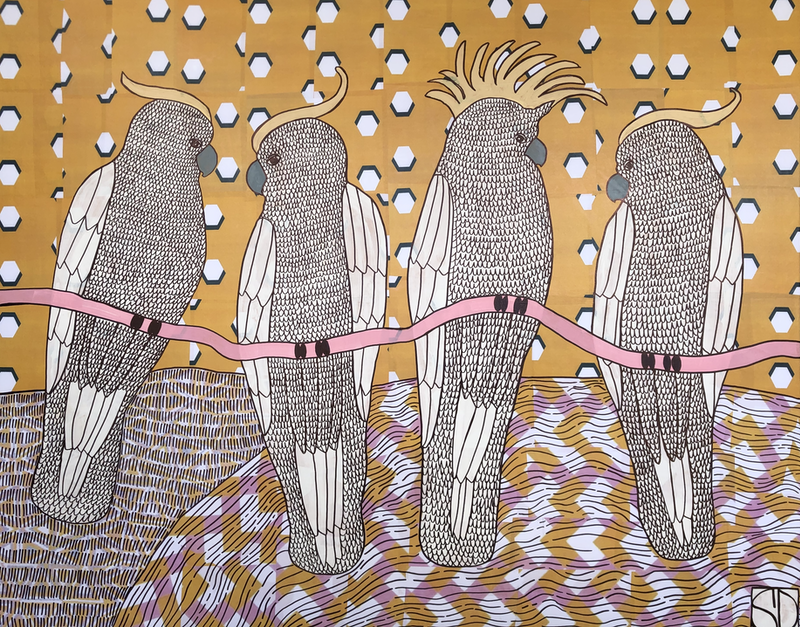 (CreativeWork) Hanging About by Sally Dunbar. Mixed Media. Shop online at Bluethumb.