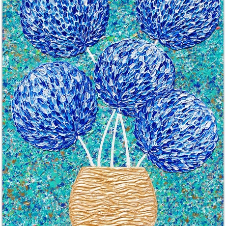 (CreativeWork) Flowers - Blue Flowers in Gold Vase - Blue textured abstract by Miranda Lloyd. Mixed Media. Shop online at Bluethumb.