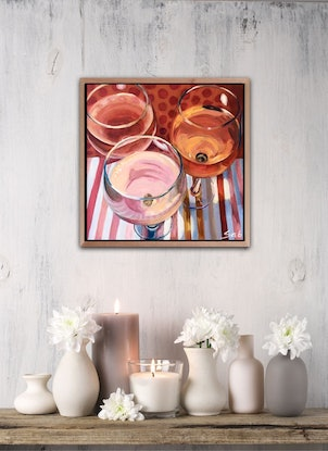 (CreativeWork) Rose' & Red by Sarah Abbott. Acrylic Paint. Shop online at Bluethumb.