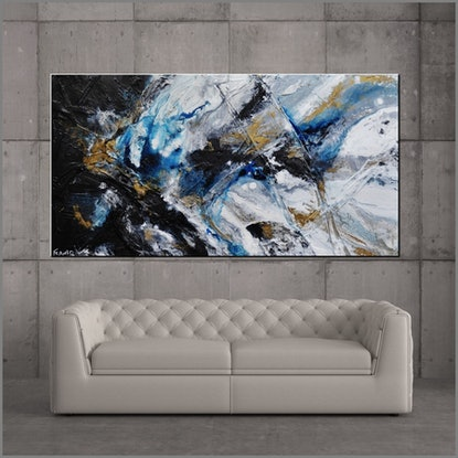 (CreativeWork) Midnight Atmosphere 190cm x 100cm Blue Grey Black Textured Abstract Franko by _Franko _. Acrylic Paint. Shop online at Bluethumb.