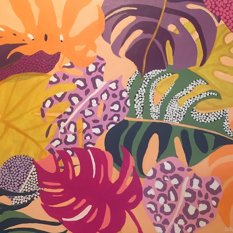 (CreativeWork) Monstera Carnival by Olivia Dilks. Acrylic Paint. Shop online at Bluethumb.