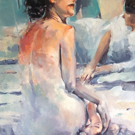 (CreativeWork) Italian Bathers by Tony Belobrajdic. Oil Paint. Shop online at Bluethumb.