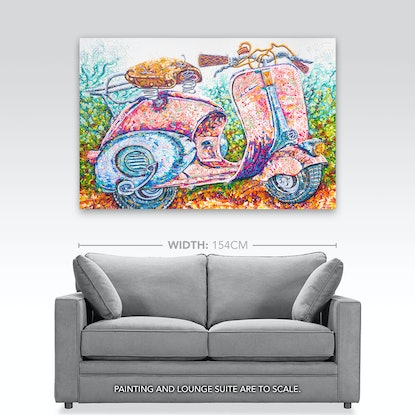 "(CreativeWork) Retro Vespa ""Faro Basso"" Scooter by Tina Dinte. Acrylic Paint. Shop online at Bluethumb."