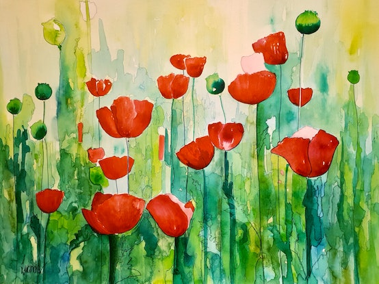 (CreativeWork) Really Reds by Lucinda Leveille. Watercolour Paint. Shop online at Bluethumb.