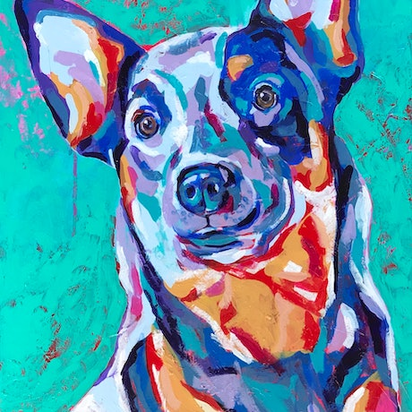 (CreativeWork) Good Dog by Kylee Rees. Acrylic Paint. Shop online at Bluethumb.
